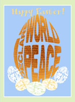 The I Declare World Peace Logo Easter Egg Decoratrive Greeting Card